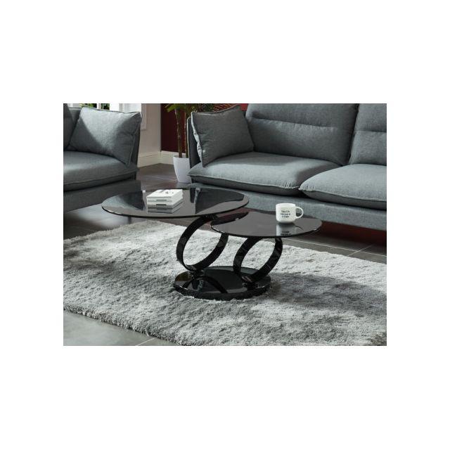 Table basse avec plateaux pivotants JOLINE - Verre trempé fumé & métal chromé noir