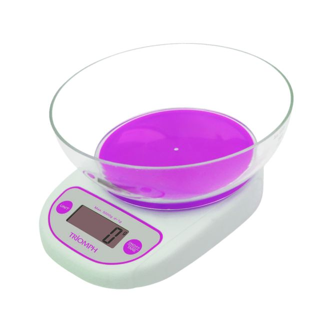 Triomph Balance culinaire électronique violette avec écran tactile Lcd - tare - Portée 5 kg + Bol