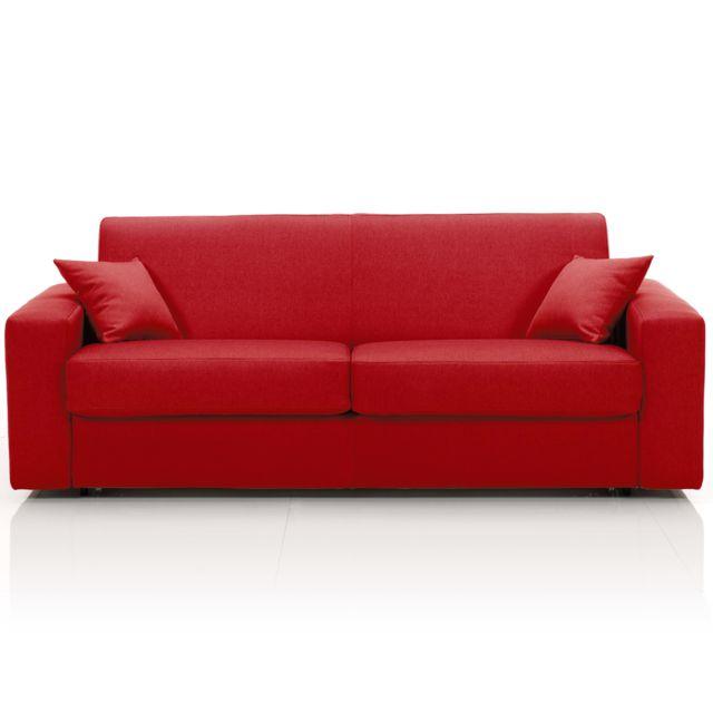 AUTRES Canapé convertible 3 places maxi, tissu déhoussable - rouge