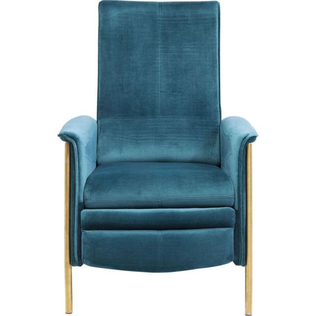 Karedesign Fauteuil relax Lazy velours bleu pétrole Kare Design