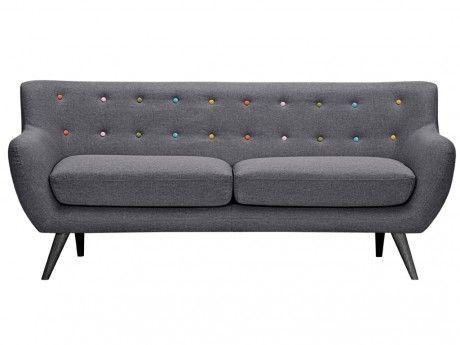 VENTE-UNIQUE Canapé 3 places en tissu SERTI - Gris anthracite avec boutons déco multicolores