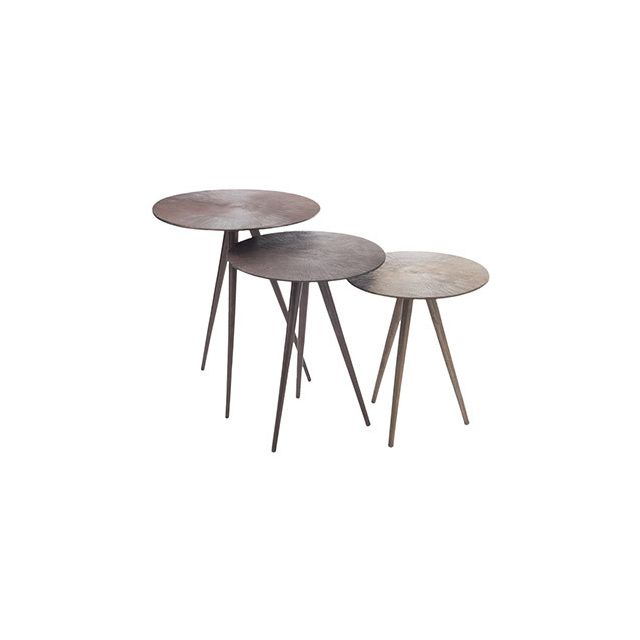 Table gigogne ronde 36x42cm en alluminium or