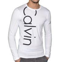 Calvin Klein - T Shirt Manches Longues - Homme - Cmp53u - Blanc Noir