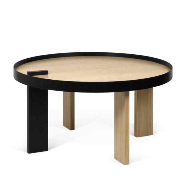 Tousmesmeubles Table basse ronde Bois/Métal noir - Alakano