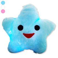 Totalcadeau - Coussin étoile éclairage Leds lumineux oreiller, veilleuse bleu