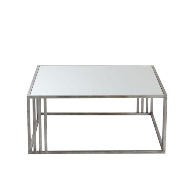 Tousmesmeubles Table Basse Carree Metal Argent Verre Arone Pas