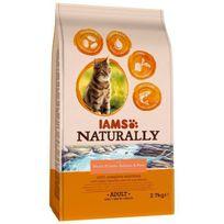 Iams - Naturally Croquette Saumon Atlantique Nord & Riz - Toutes races - 2.7 kg - Pour chat adulte