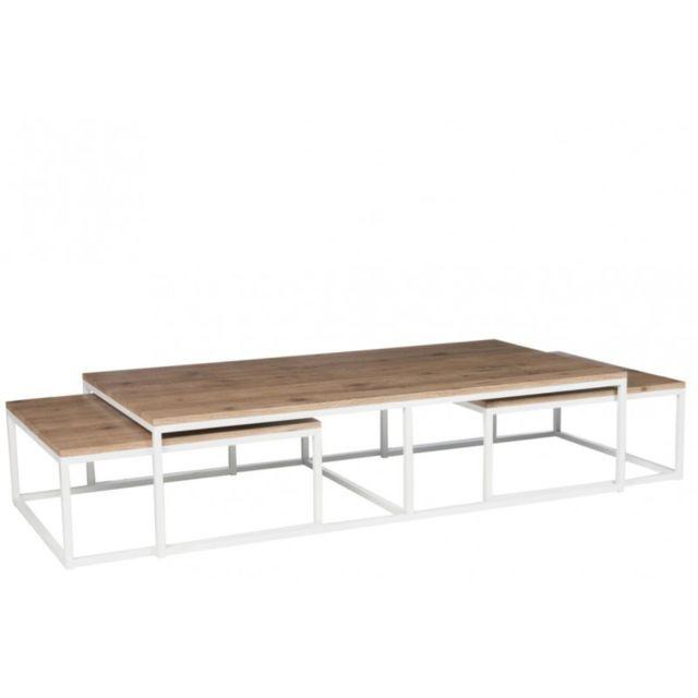 Tousmesmeubles Table Basse Gigogne Bois Metal Gaby 80cm X 150cm