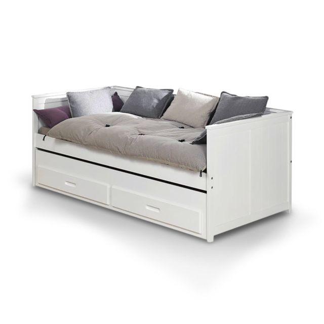 Ik IdkidS Lit Gigogne Avec Tiroir Lit X Blanc Cm X Cm - Lit avec un tiroir lit
