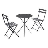 Salon de jardin 2 personnes en acier et tôle pleine: chaises + 1 table pliantes Gueridon/RAINBOW