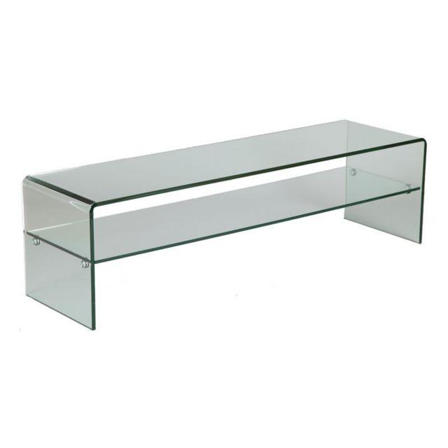 Tousmesmeubles meuble tv en verre clean transparent pas cher achat vente meubles tv hi - Meuble tv en verre transparent ...