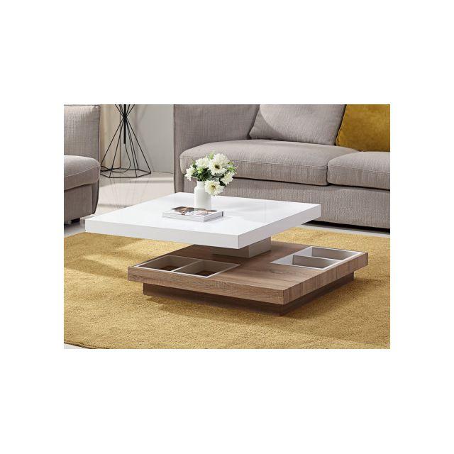 marque generique table basse fausto plateau pivotant mdf laqu blanc ch ne pas cher. Black Bedroom Furniture Sets. Home Design Ideas