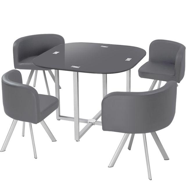 MENZZOPREMIUM Table et chaises Mosaic 90 Gris