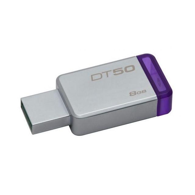 KINGSTON Clé USB 3.0 8Go DataTraveler 50 Metal/Violet DT50/8GB DataTraveler® 50 est une clé USB légère disponible dans des capacités allant de 8 à 128Go