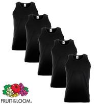 Fruit Of The Loom - 5 débardeurs Value Weight Coton Noir Taille L