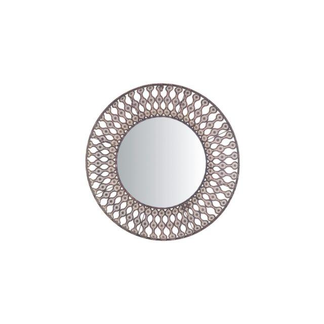 BELIANI Miroir rond marron AUMAR - marron