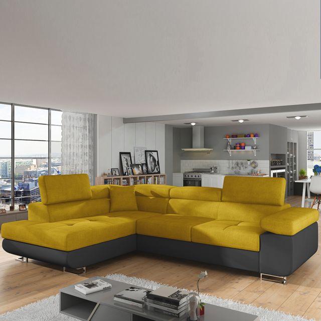 Sofamobili Canapé convertible jaune et noir angle à gauche Scott