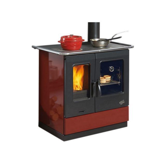 GODIN - cuisinière à bois 6.5kw rouge - 241100carmin