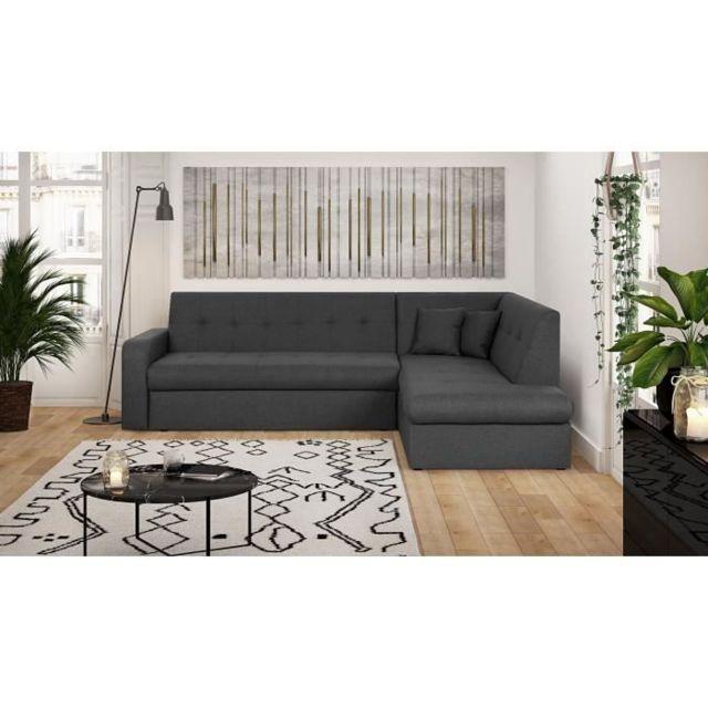 CANAPE - SOFA - DIVAN ROMAN Canapé d'angle droit 5 places - Tissu Anthracite - L 255 x P 189 x H 81 cm