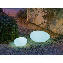 New Garden - Galet lumineux extérieur en polyéthylène blanc 40 cm Petra
