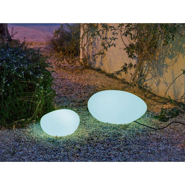 New Garden Galet lumineux extérieur en polyéthylène blanc 40 cm Petra