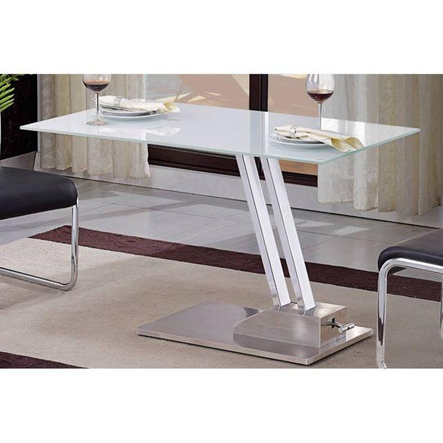Inside 75 Table basse relevable Step en verre sérigraphié blanc structure chromée