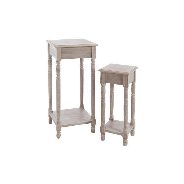 Set de 2 tables gigognes carrées en bois