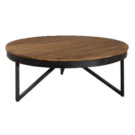 exceptional table basse bois et metal pas cher 13 table basse ronde 90x90 cm bois et m tal. Black Bedroom Furniture Sets. Home Design Ideas