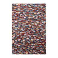 Deladeco - Tapis naturel en laine feutrée épais pour salon multicolore Missi