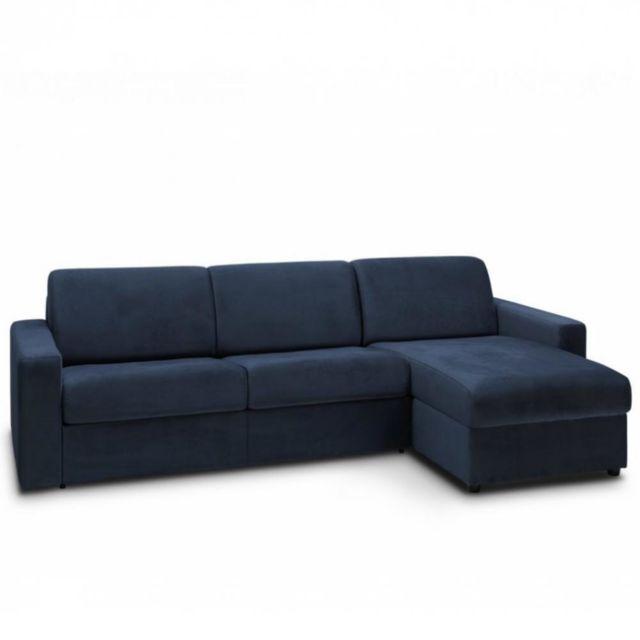 Canapé d'angle convertible NIGHT EDITION VELOURS rapido couchage 140 cm bleu marine
