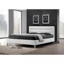 Price Factory   Lit Adulte Design Fenix Blanc + Sommier 180x200cm. Meuble  Moderne En Simili