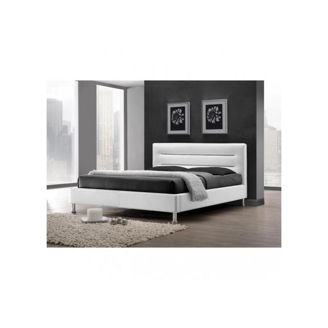 Price Factory - Lit adulte design Fenix blanc + sommier. Couchage ...