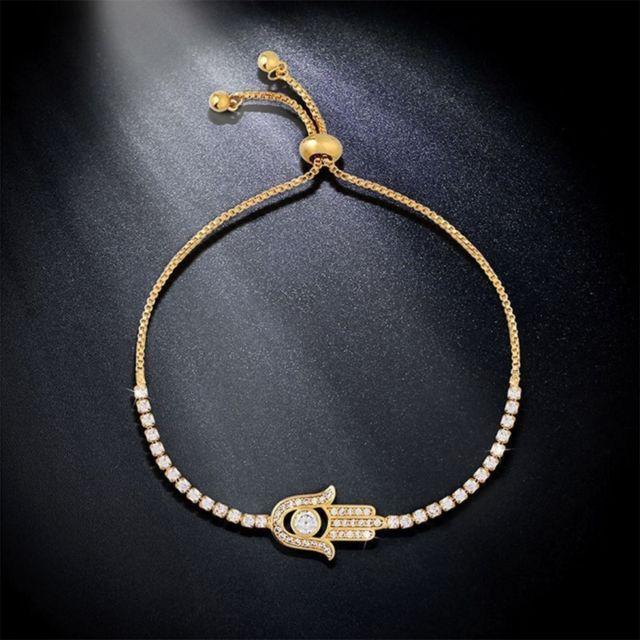 moins cher ec231 4fd84 Bracelet or Cadeau de la Saint-Valentin Hamsa main cristal incrusté chaîne  Bracelet, longueur de la chaîne: 25cm