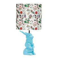 Domestic - Jeannot Lapin - Lampe à poser Céramique Bleu et abat-jour Tissu Automne H60cm - Lampe à poser designé par Nathalie Lété