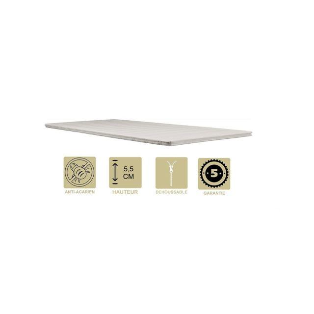 Provence Literie Surmatelas ergonomique Hyper Moelleux top Confort 70x190 x 5,5 cm Déhoussable Entretien Facile - Anallergique - à l'Aloe