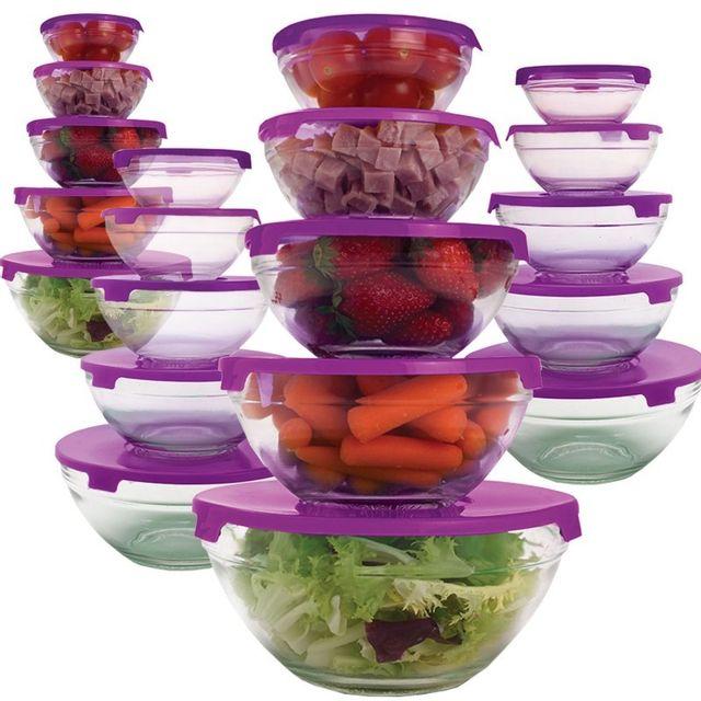 Idmarket 20 bols de conservation en verre+20 couvercles violets hermétiques