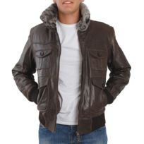 Eagle Square - Blouson Aviator cuir marron