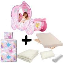 Bebe Gavroche - Pack complet Lit Carrosse Legende Princesse Disney = Lit+Matelas & Parure+Couette+Oreiller