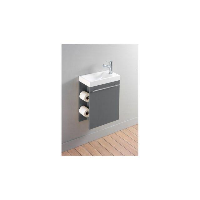 planetebain meuble lave mains complet pour wc avec distributeur de papier couleur gris. Black Bedroom Furniture Sets. Home Design Ideas
