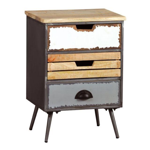 tousmesmeubles table de chevet 3 tiroirs bois m tal supply n 2 bois clair pas cher achat. Black Bedroom Furniture Sets. Home Design Ideas