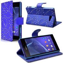 Karylax - Etui Portefeuille mode Support Style Diamant Bleu pour Sony Xperia M2 Dual