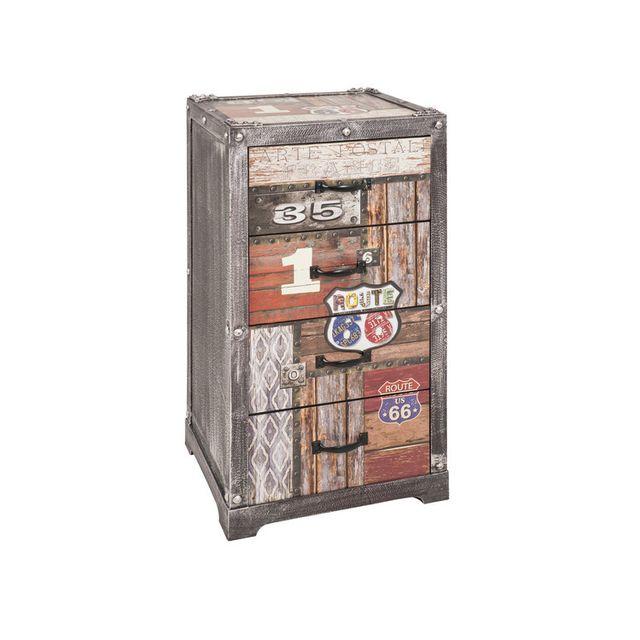 Chiffonnier 4 tiroirs en bois et métal avec imprimé texte H77cm WHITSTABLE - Route 66