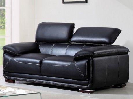 VENTE-UNIQUE Canapé 2 places en cuir MACELO - Noir