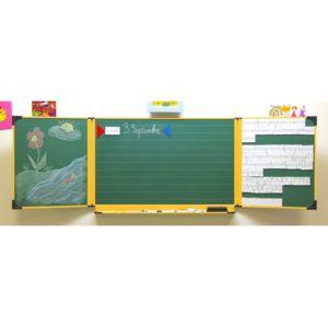ulmann tableau cole enfant 60 x 100 cm blanc et vert encadrement jaune 120527 pas cher. Black Bedroom Furniture Sets. Home Design Ideas