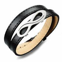 Bijoux Paris - Bracelet Infini Cuir Noir