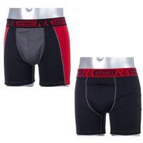 Rx Sport - Lot de 2 Boxers Homme Microfibre Technic Rouge Noir