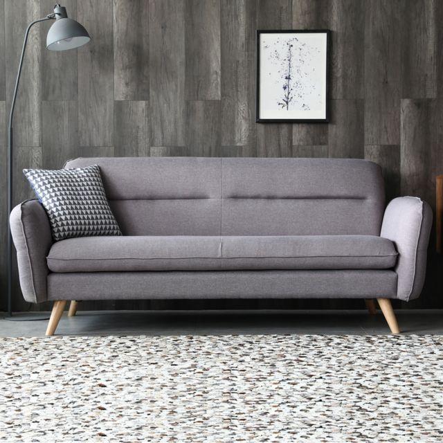CONCEPT USINE Mobler gris clair : canapé scandinave 3 places gris clair