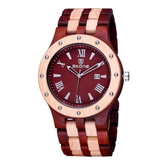 Wewoo - Bracelet en bois Beige et rouge cadran rond calendrier affichage  rivets lunette décorative romaine 4b526d6ef0a