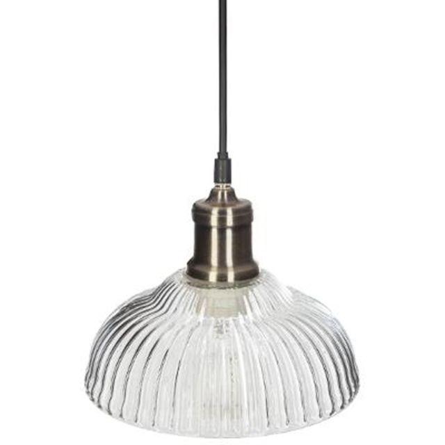 """Paris Prix - Lampe Suspension Cloche en Verre """"Iris"""" 14cm Or"""