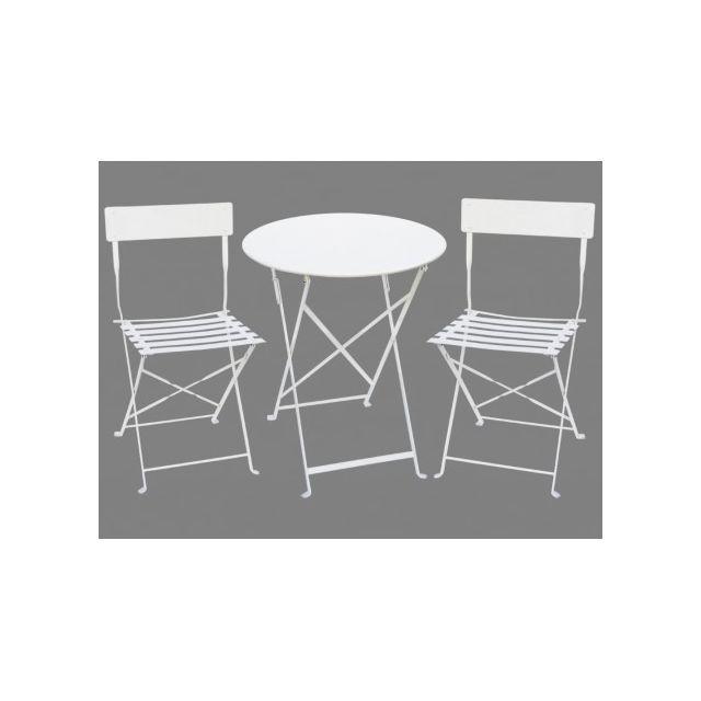 Vente-unique - Salle à manger de jardin en métal Canebiere: une ...